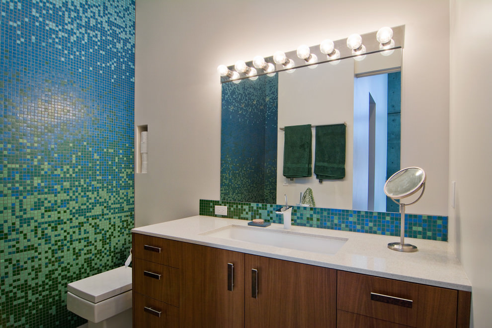 24 mosaic bathroom ideas designs design trends for Mosaic tile bathroom design
