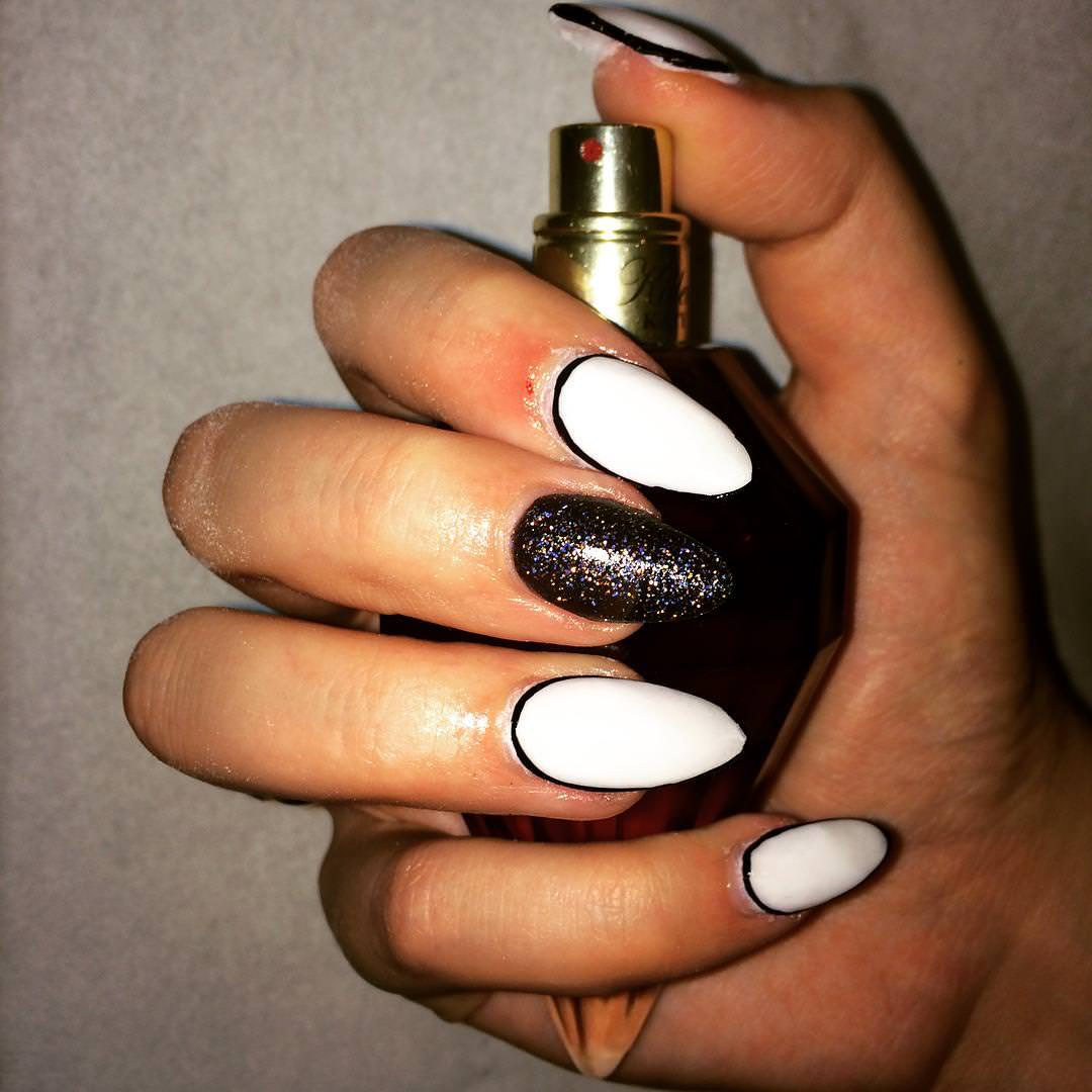 White and Black Glitter Acrylic Nails