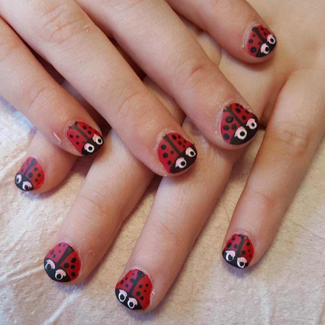 Red And Black Nail Design For Kids