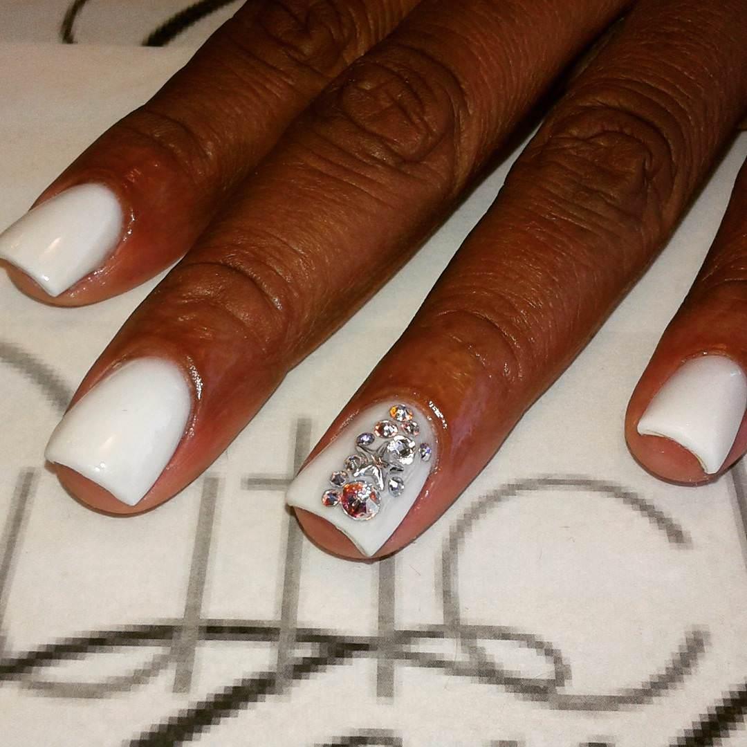 All White Custom Acrylic Nail.