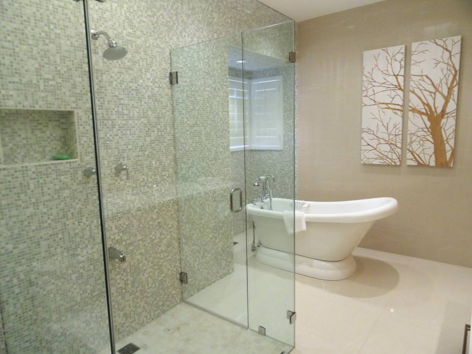 glass shower mosaic tiles ideas