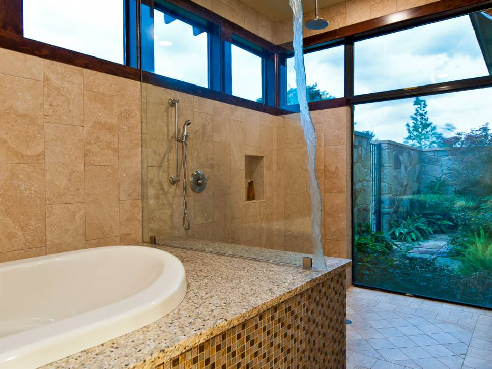mosaic tile tub deck designs