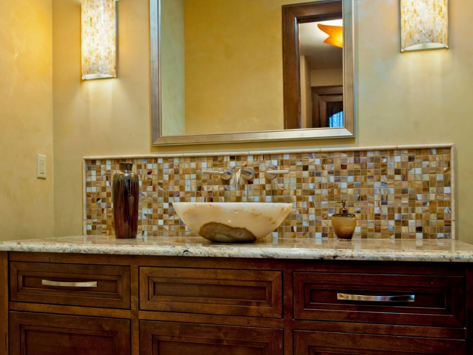 sink vessel mosaic tiles backsplash ideas