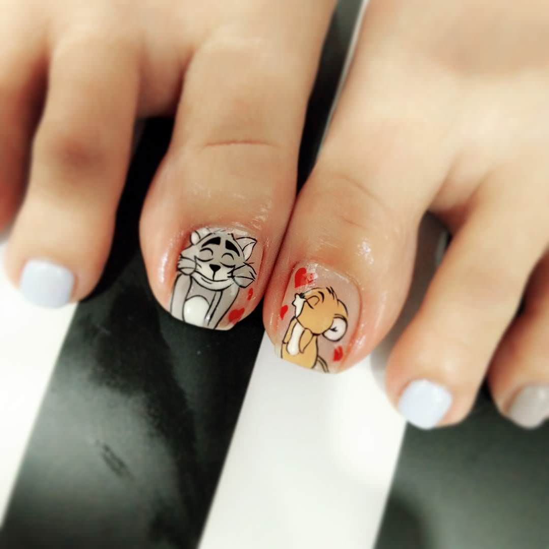 Tom And Jerry Toe Nail Design