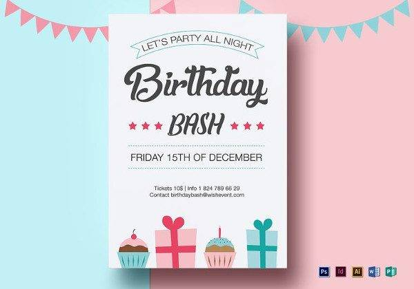 birthday bash flyer template 600x420