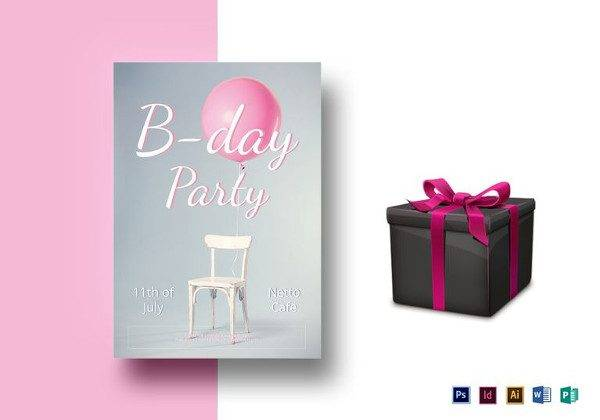 birthday party flyer template 600x420