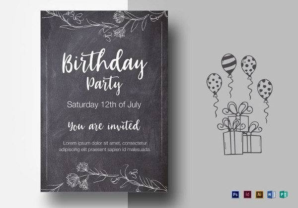 chalkstyle birthday party flyer template 600x420