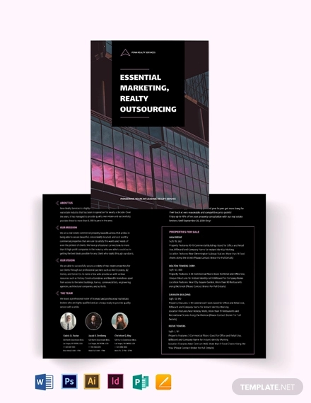 commercial real estate marketing bi fold brochure template