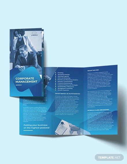 corporate management tri fold brochure template
