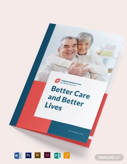 medical home care bi fold brochure template