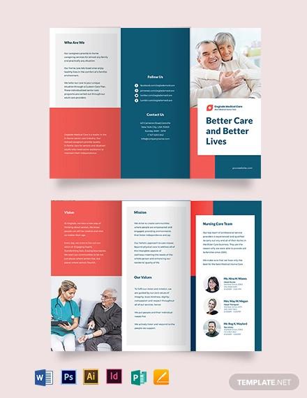 medical home care tri fold brochure template