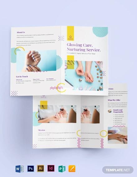 nail spa bi fold brochure template