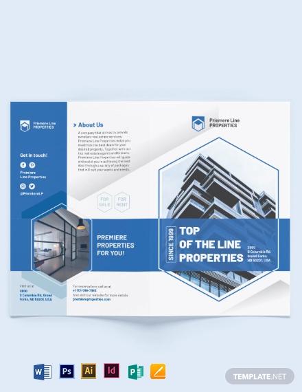 property bi fold brochure template