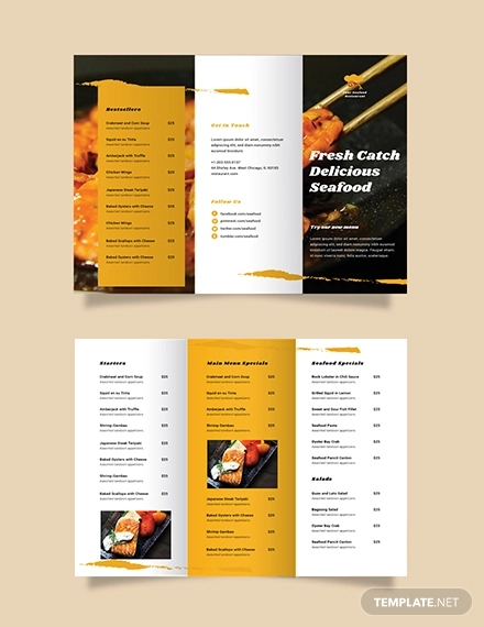 seafood restaurant take out trifold brochure template