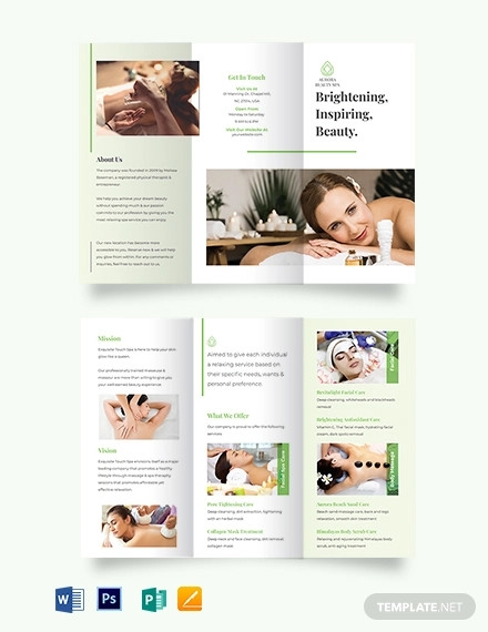spa service tri fold brochure template