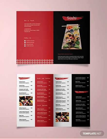 sushi restaurant take out bifold brochure template
