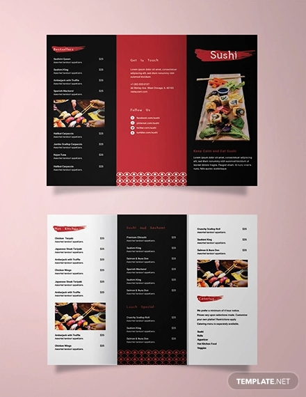 sushi restaurant take out trifold brochure template