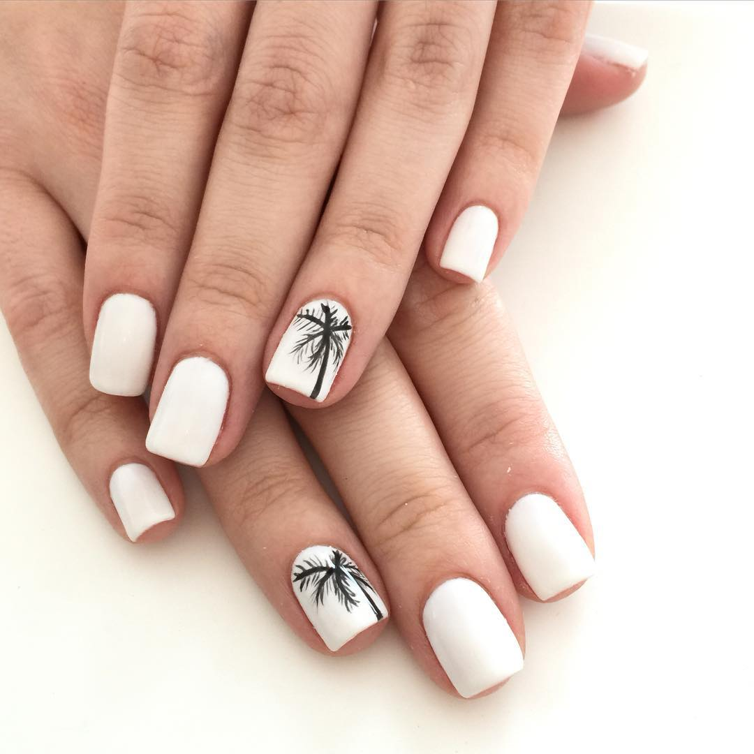 White Palm Nail Design
