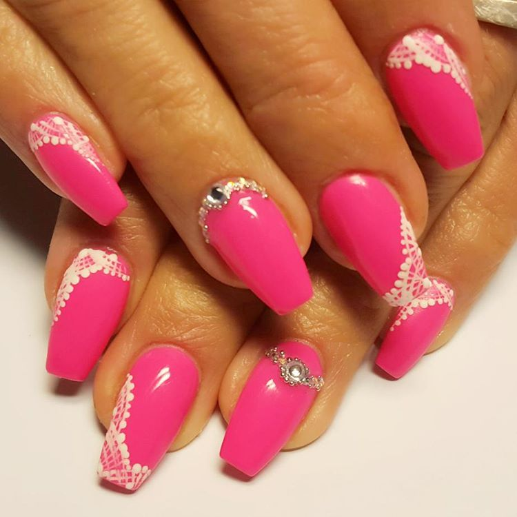 Pink Acrylic Floral Designs For White Hand