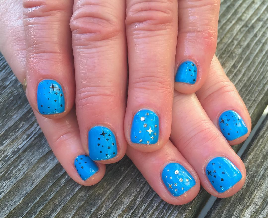 Silver Stars Design Blue Nail Art For Short Nails