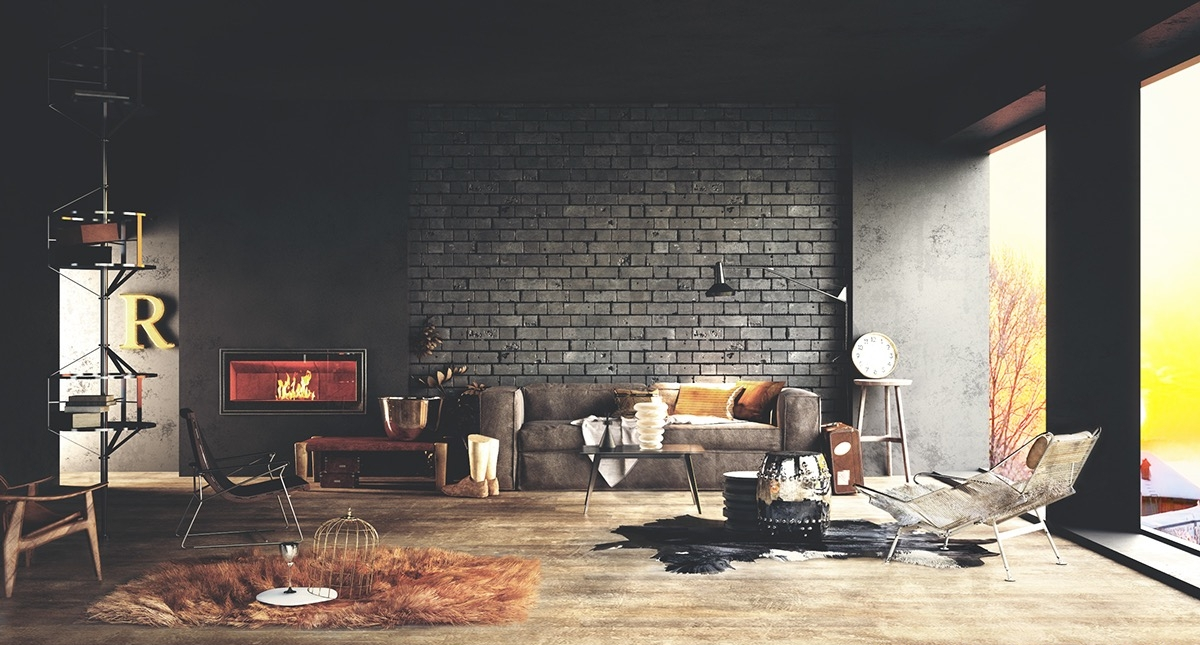 Living Room Interior Brick Wall Ideas
