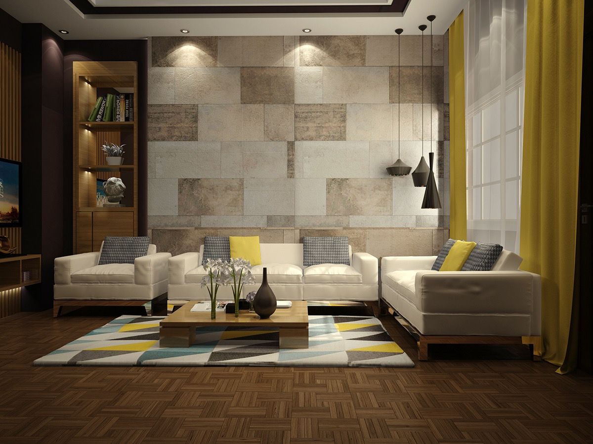Living Room Tiles Interior Wall Ideas