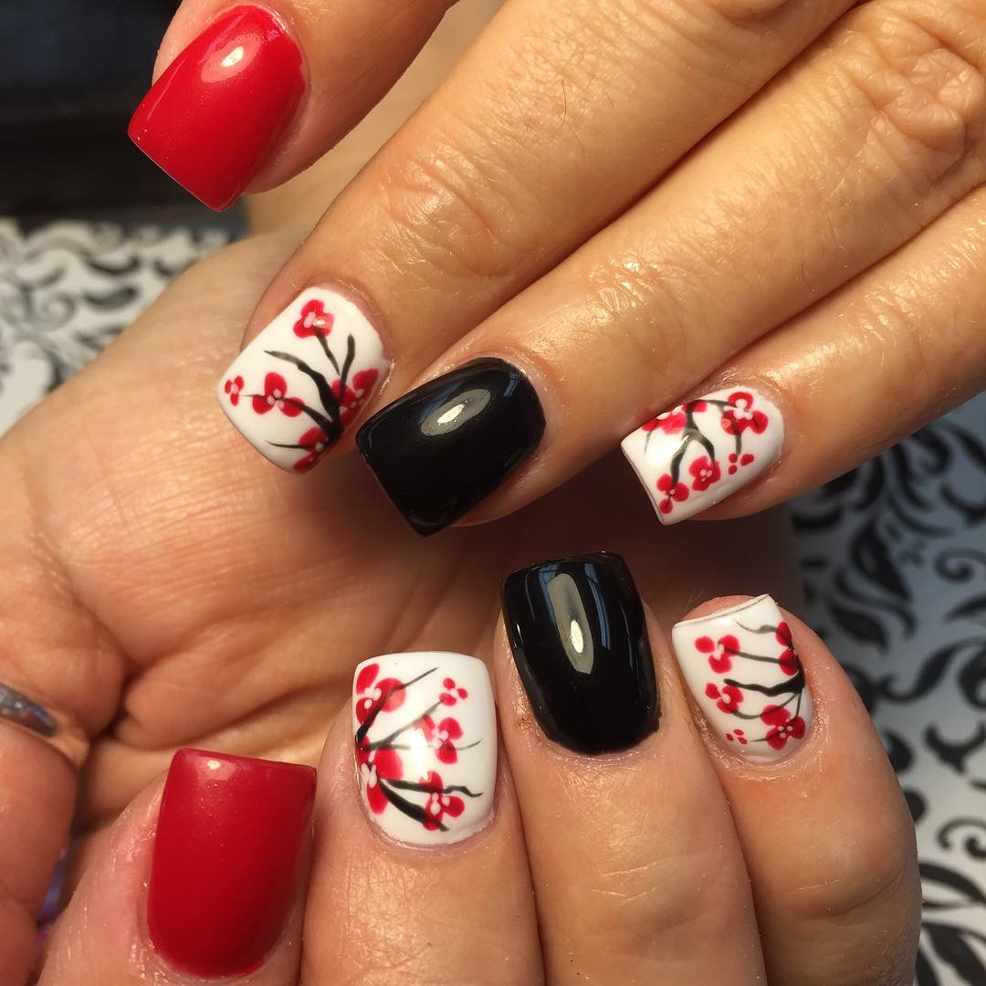 Elegant Red Design Nail Art For Medium Nails