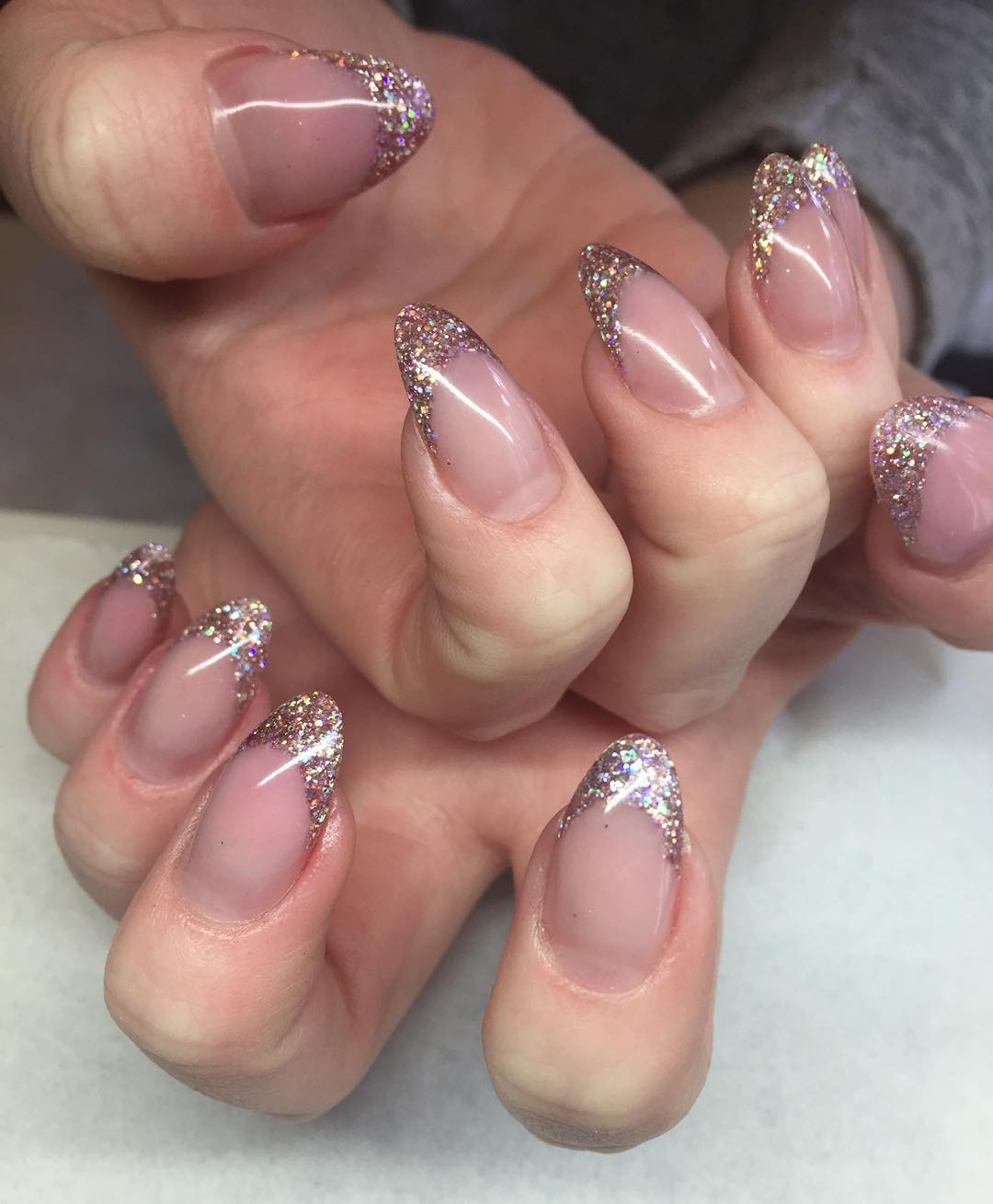 baby pink with silver nail idea