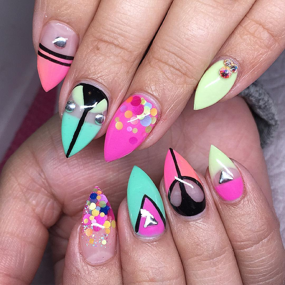 Colorful Summer Acrylic Nails