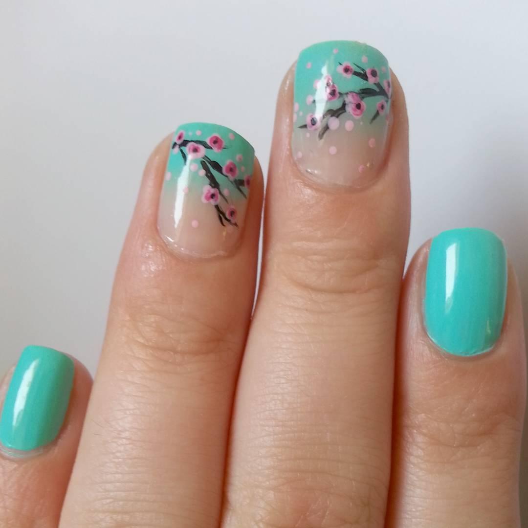 blue cherry blossoms nail paint idea