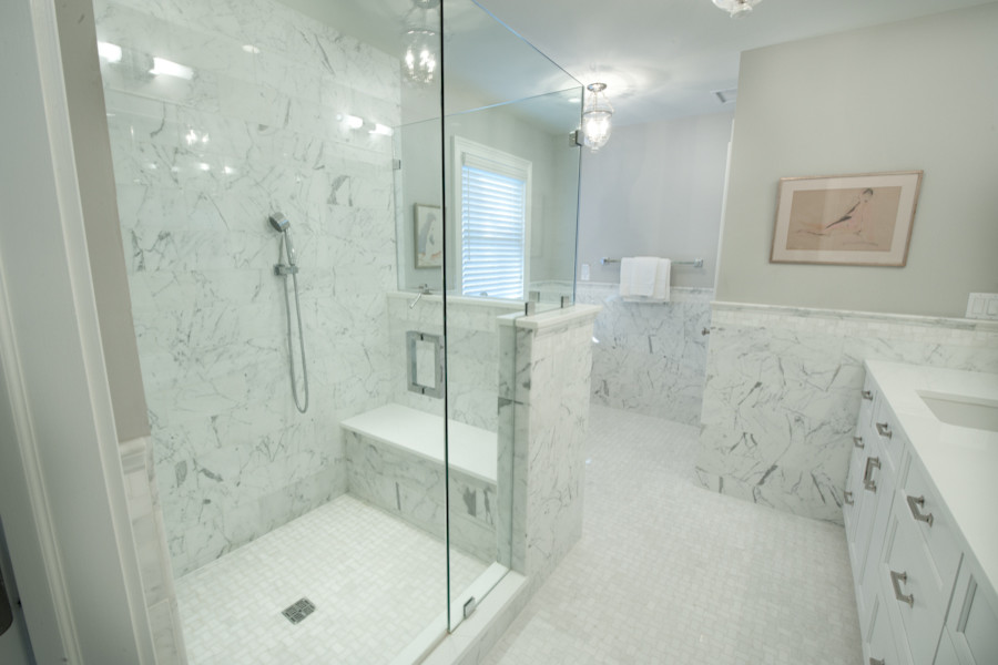 Glass Shower Marble Wall Deisgns