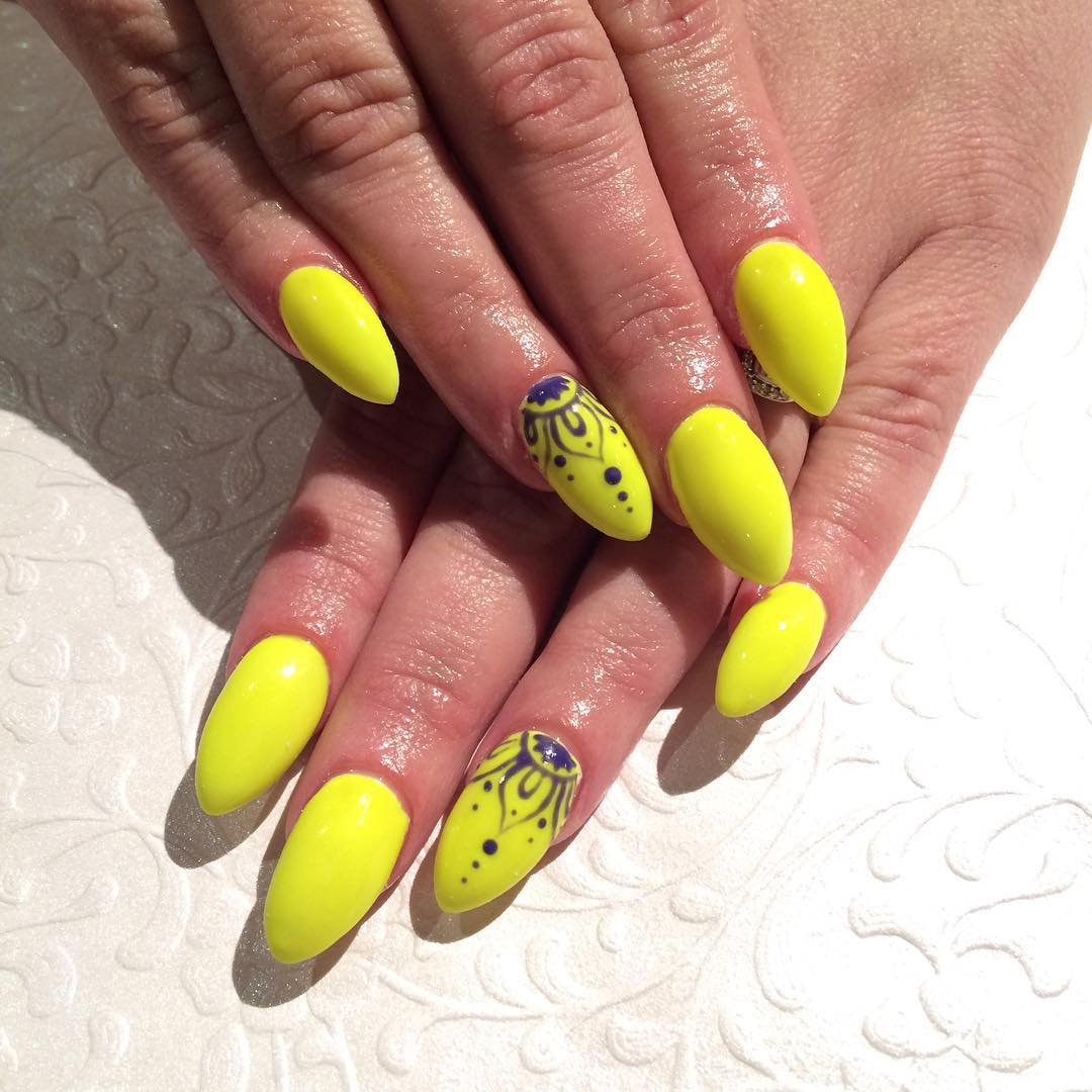 Yellow Colored Acrylic Nail Art Idea