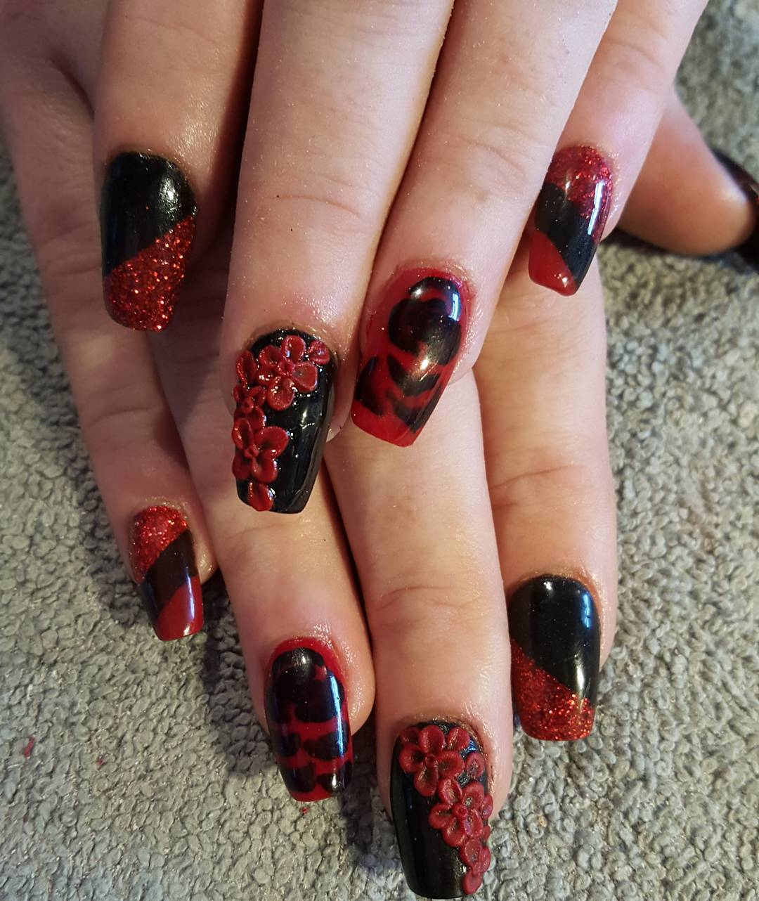 dark red flower 3d acrylic nail polish