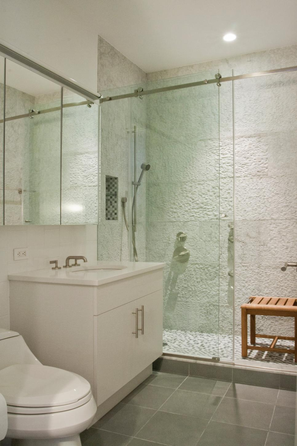 White Bathroom Glass Shower Designs