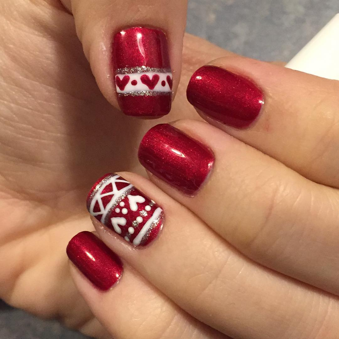 red and white short nails art
