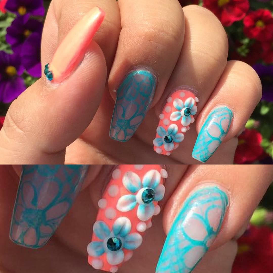 Multi Color Flower Design Nail Art