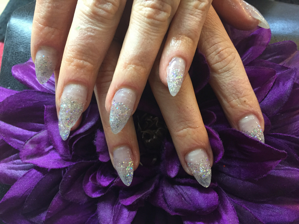 acrylic nails with silver glitter dust