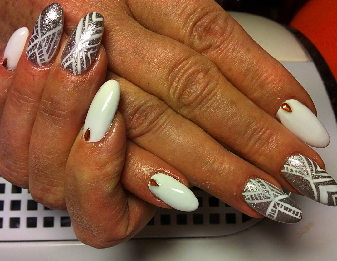 White and Silver Nail Design Idea - 24+ Silver Acrylic Nail Art Designs, Ideas Design Trends - Premium