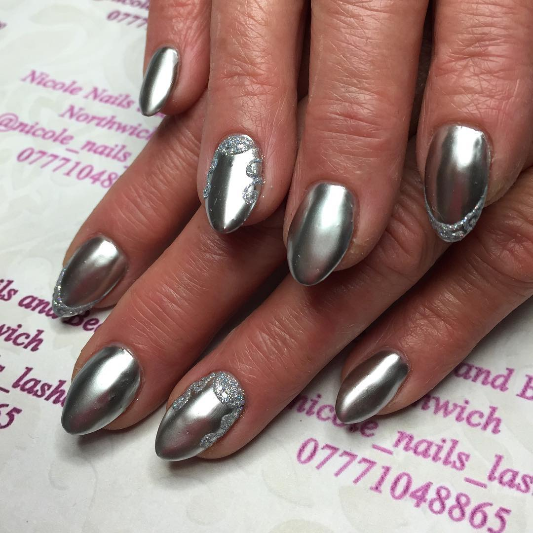 24+ Silver Acrylic Nail Art Designs, Ideas