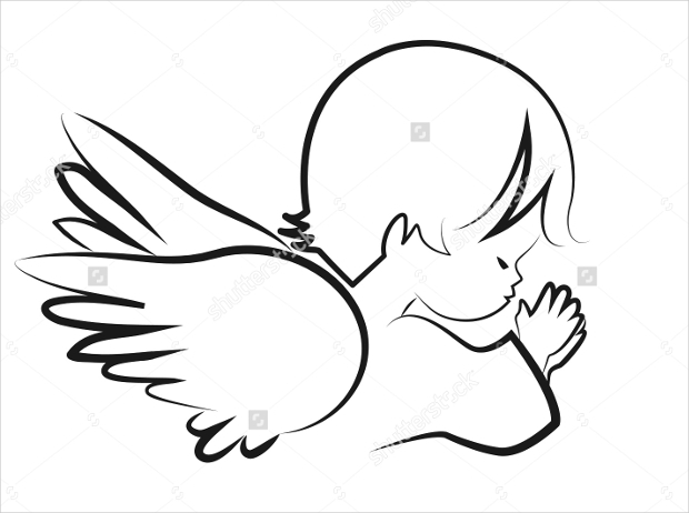 cute angel with wings logo design