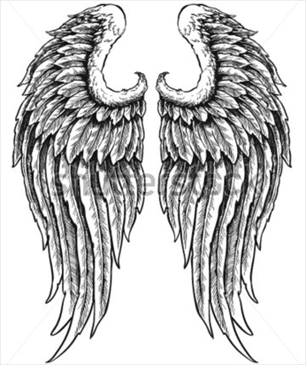hand drawn angel wings use for logo