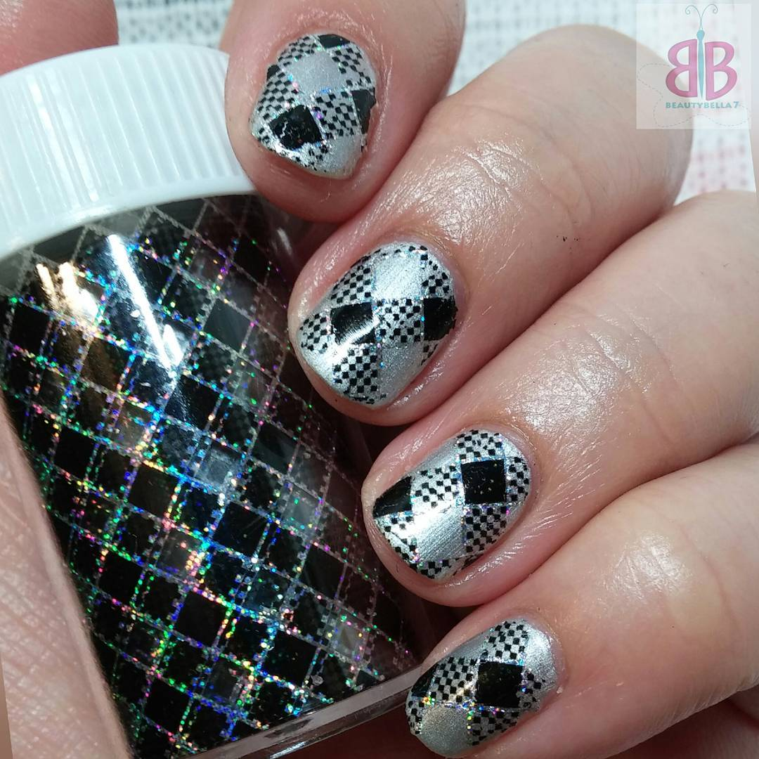 Black And Silver Checkered Nail Art