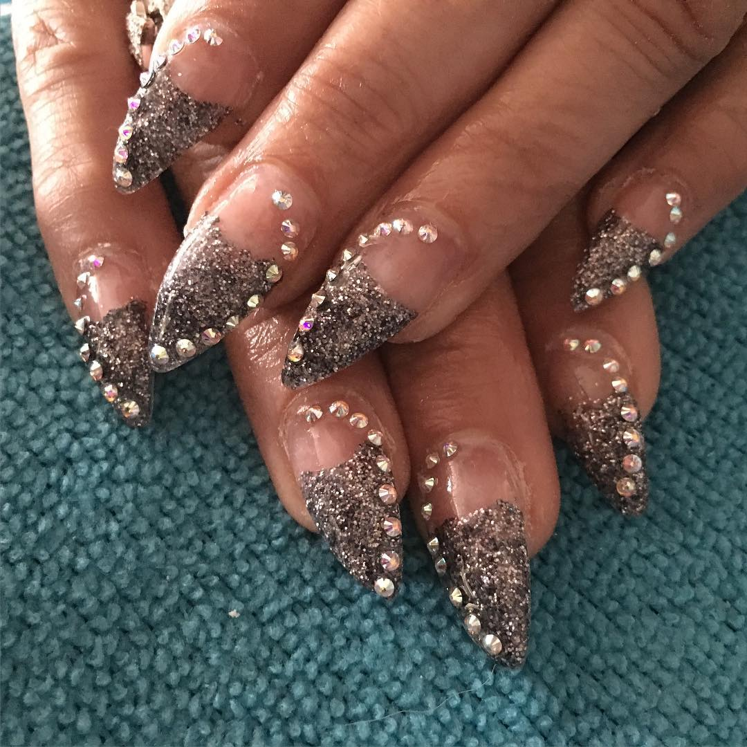 crystal decorated silver glitter nails