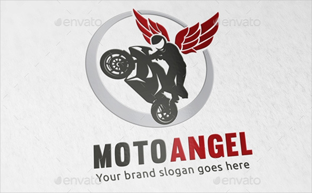 red angel wings logo design