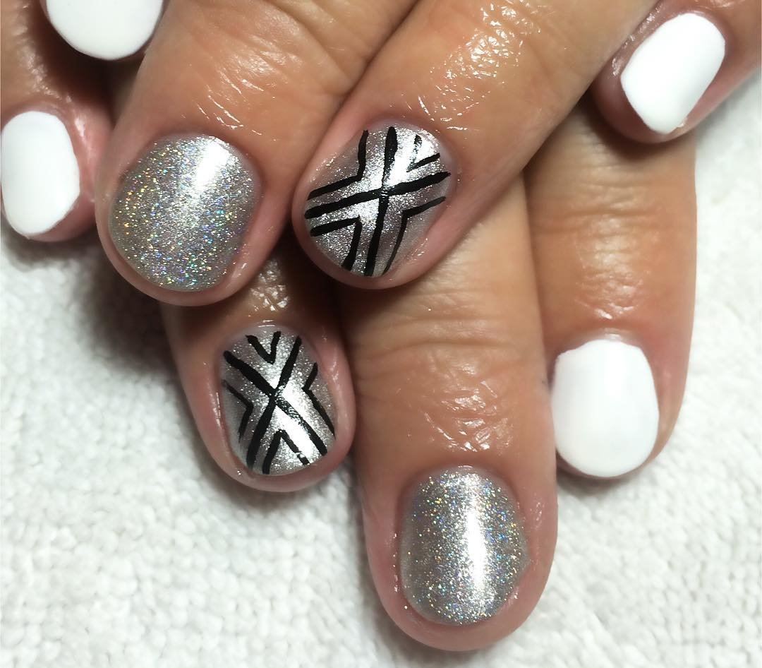 black holographic art on nails