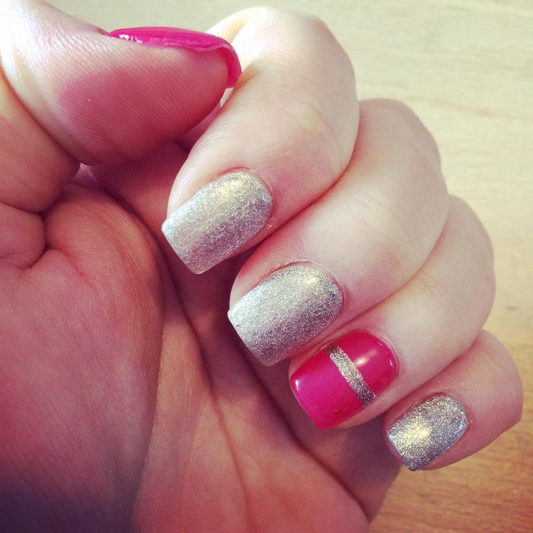 silver line art on pink nails