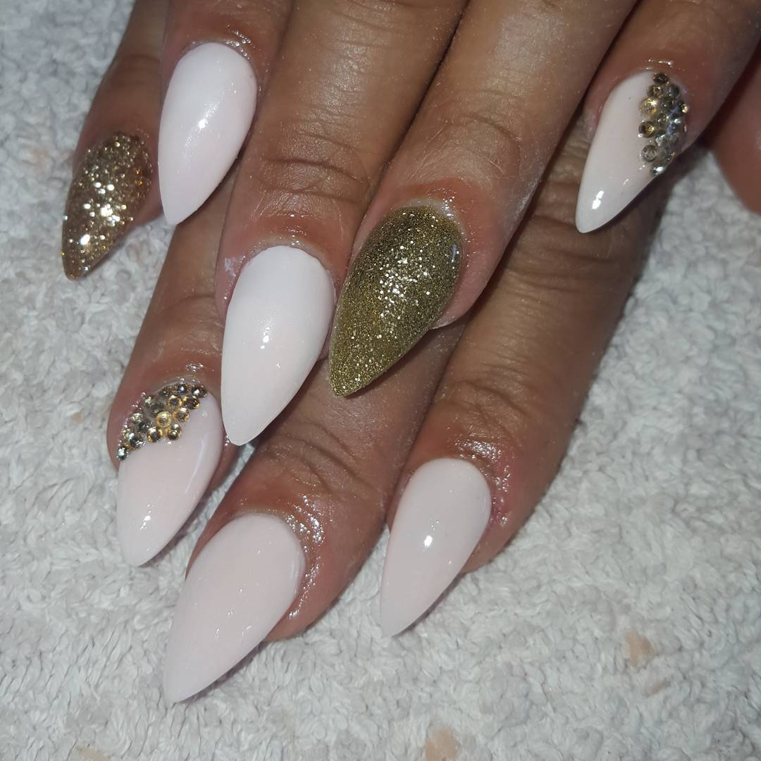 White And Golden Nail Polish For Wedding