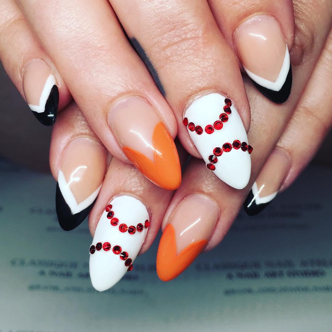 multi color designed nail art model