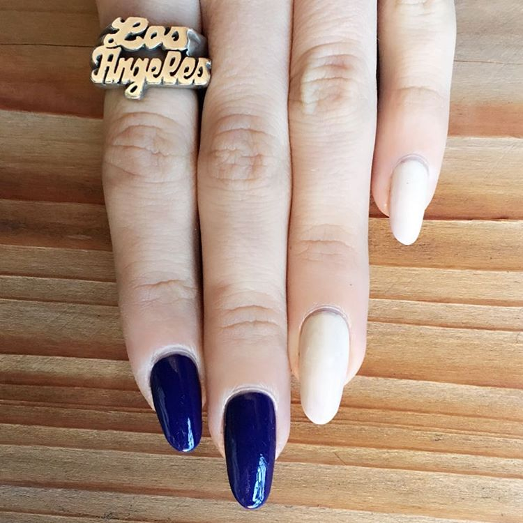blue and white combination nail art