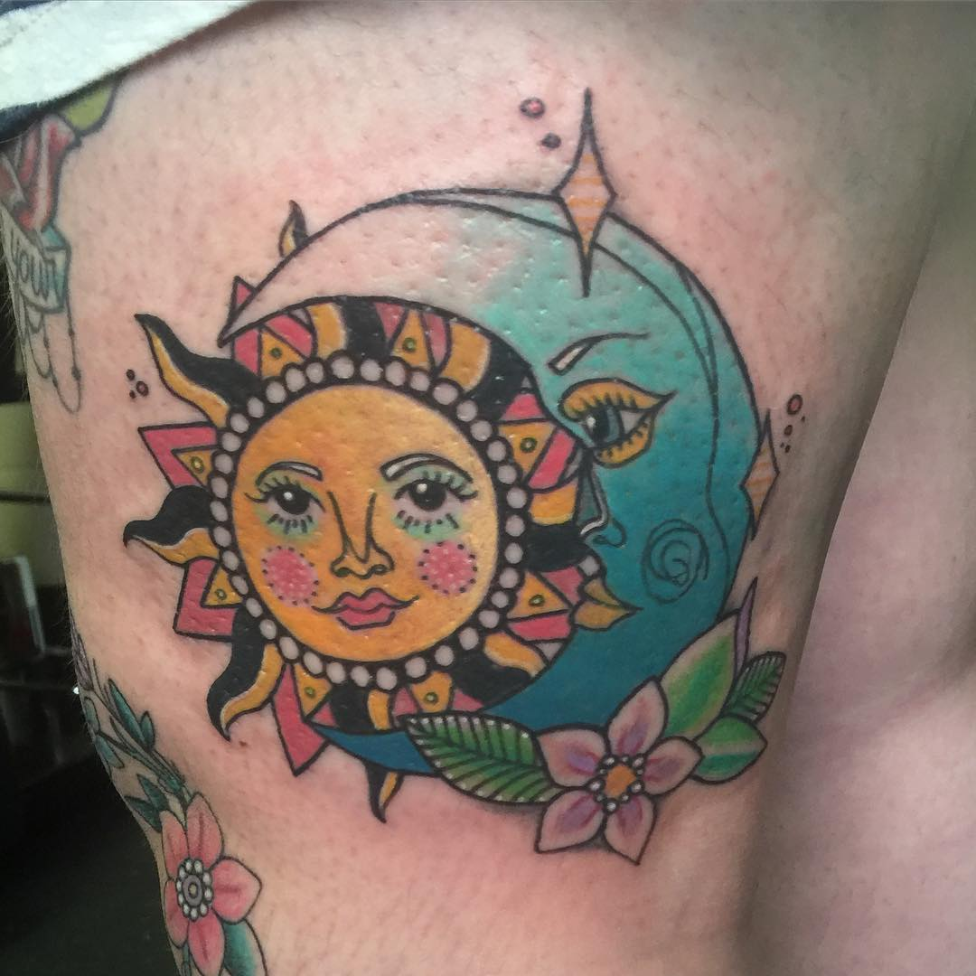 Tattoo Design Of Sun and Moon